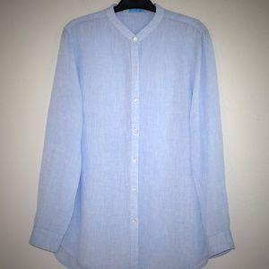 J McLaughlin Linen Shirt L Blouse Button Front Top